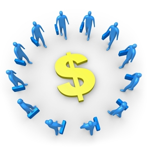 Group Of Blue Businessmen Carrying Briefcases Standing In A Circle Around A Dollar Sign Clipart Illustration Image